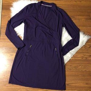 ATHLETA Dress Purple V Neck Suedy Lady Athletic 1X